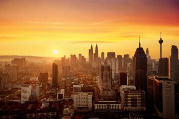 Morning Scene Of Kuala Lumpur Business District,capital City Of Malaysia