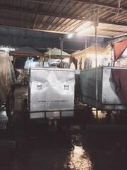 Acrylic Prints Illuminated Market Stalls At Night