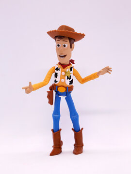 Toy story movie. Woody. Pixar and Disney movie toys. Cowboy. I will be your faithful friend. Isolated white.