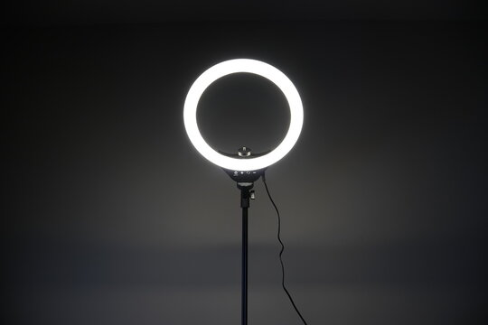 LED ring light with a dark background