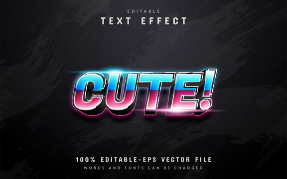 Cute text, 80s gradient style text effect