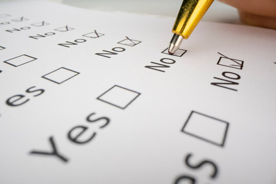 Completing a questionnaire with yes or no questions