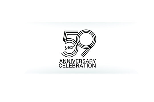 59 year anniversary celebration Black Line. logotype isolated on White background for celebration, invitation card, and greeting card-Vector
