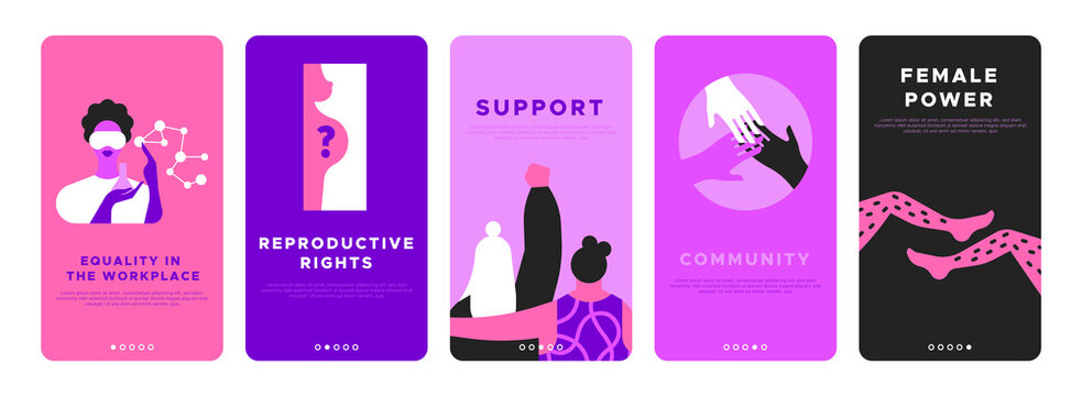 Feminist vertical banner template set for women rights or international social issues event on March 8. Pink flat illustration of girl friends together, diverse hands, scientist worker and more.
