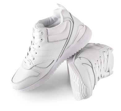 white women's winter sneakers isolated on white. Pair of trendy women