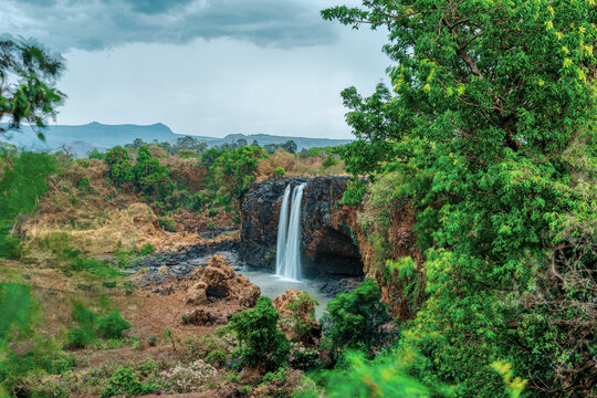 Blue Nile waterfalls in dry season. Fall on the Blue Nile river. Nature and travel destination. Ethiopia wilderness, Amhara Region, near Bahir Dar and Lake Tana