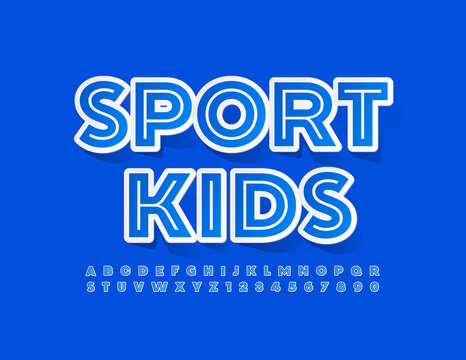 Vector trendy banner Sport Kids. Creative style Font. Sticker set of Alphabet Letters and Numbers