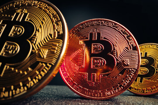 Close up photo of bitcoin crypto currency