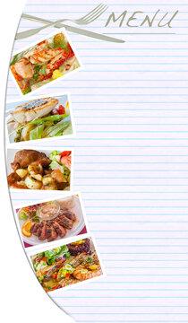 collage de plats gastronomiques pour carte menu de restaurant