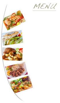 Fond avec photos de plats gastronomiques  pour menu de restaurant