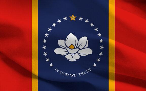 Mississippi new federal state flag, 2020, United States, graphic illustration