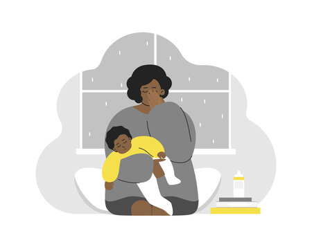 Vector flat concept. Problem of maternity - how to keep calm and mental health. Tired African American mother cries. She holds baby on hands. Mom feels emotional stress, anxiety, postpartum depression