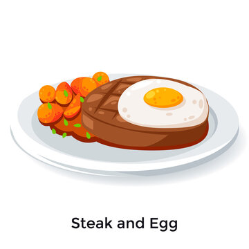 Delicious steak and fried egg illustration
