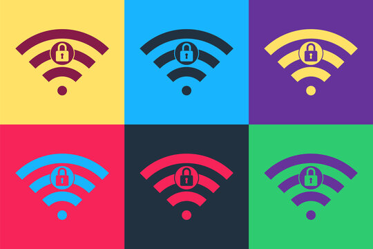 Pop art Wifi locked sign icon isolated on color background. Password Wi-fi symbol. Wireless Network icon. Wifi zone. Vector.