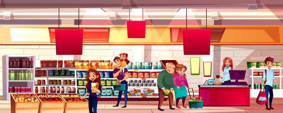 People in supermarket grocery vector illustration