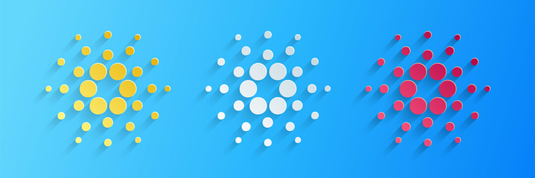 Paper cut Cryptocurrency coin Cardano ADA icon isolated on blue background. Digital currency. Altcoin symbol. Blockchain based secure crypto currency. Paper art style. Vector.