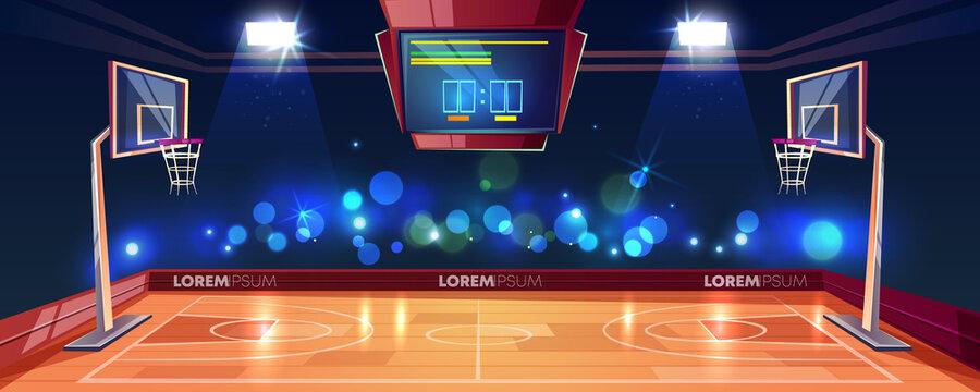 Weekend evening game on basketball stadium vector