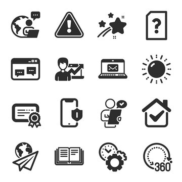 Set of Technology icons, such as Sun energy, E-mail, Time management symbols. Smartphone protection, Education, 360 degrees signs. Success business, Browser window, Customer survey. Vector
