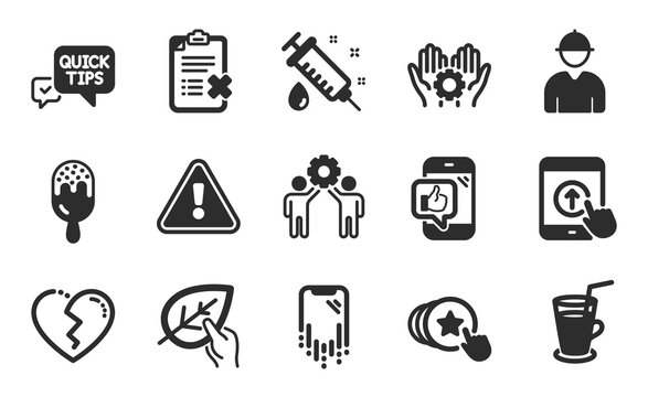 Cocktail, Quick tips and Broken heart icons simple set. Medical syringe, Swipe up and Organic tested signs. Employee hand, Reject checklist and Ice cream symbols. Flat icons set. Vector