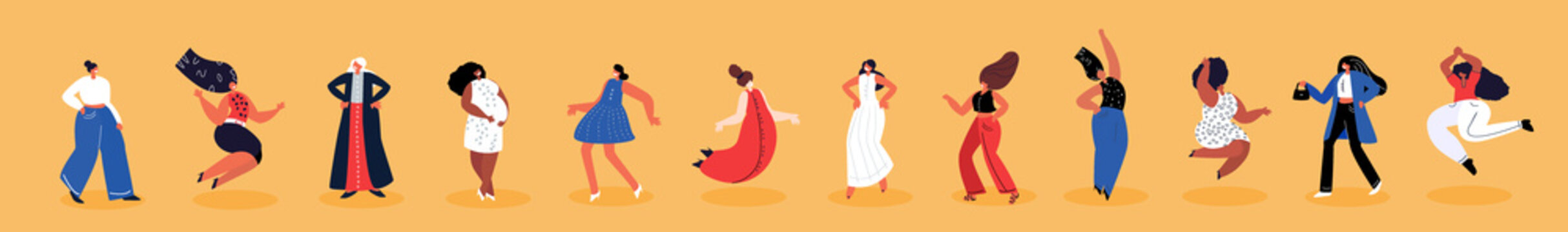Happy International Woman Day.Feminism concept.Bright Beautiful Different Dancing Girls Holding Hands.Party,Eight of March Celebration. Free Confident Women.Female Empowerment.Vector Flat Illustration