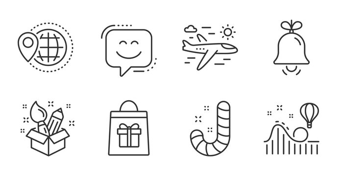 Airplane travel, Roller coaster and Creativity line icons set. Bell, Holidays shopping and World travel signs. Smile face, Candy symbols. Trip flight, Attraction park, Design idea. Vector