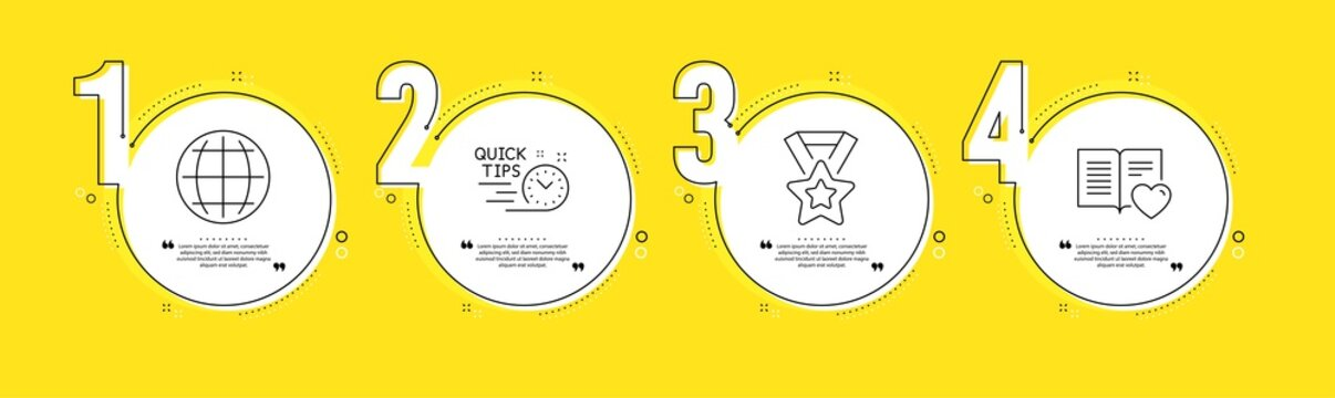 Globe, Quick tips and Winner ribbon line icons set. Timeline process infograph. Love book sign. Internet world, Helpful tricks, Best award. Customer feedback. Education set. Vector