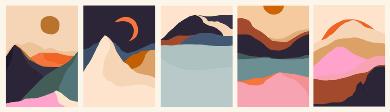 Trendy minimalist abstract landscape illustrations. Set of hand drawn contemporary artistic posters.