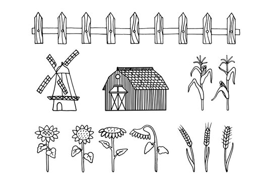 Set with a farming and agriculture theme. Vector illustration with hand-drawn elements. Doodles depicting plants and buildings.