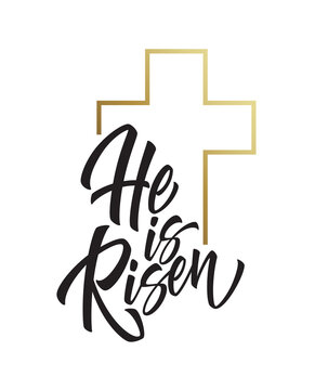 He is risen lettering isolated on white background. Symbol for congratulations on the Resurrection of Christ. Vector illustration