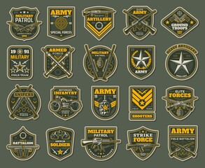 Army special forces, military specialists badges set. Artillery, snipers and infantry patrol emblems with service rifle, machine gun and rocket launcher, grenade, handgun and motorcycle vector - fototapety na wymiar