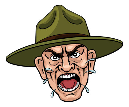 An angry army bootcamp drill sergeant soldier shouting cartoon