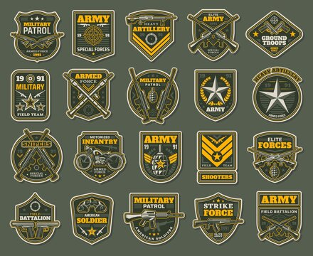 Army special forces, military specialists badges set. Artillery, snipers and infantry patrol emblems with service rifle, machine gun and rocket launcher, grenade, handgun and motorcycle vector