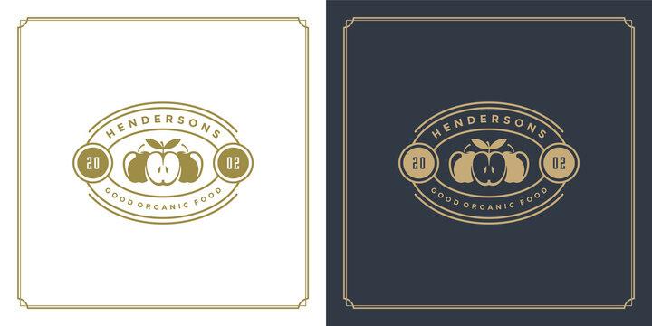 Restaurant logo template vector illustration apples veggie food silhouettes