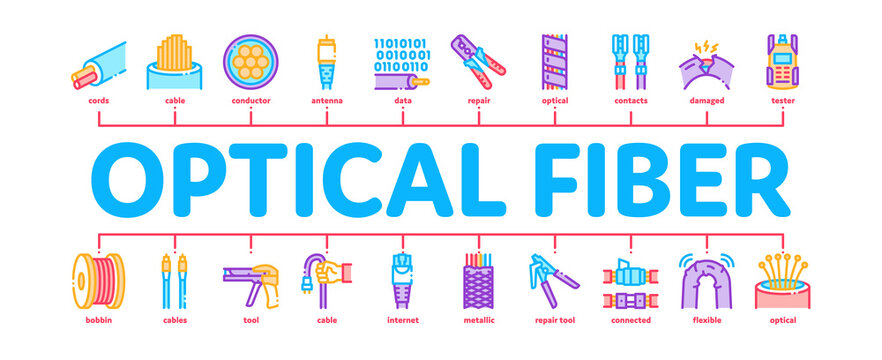 Optical Fiber Cable Minimal Infographic Web Banner Vector. Fiber Repair Instrument And Electrical Device For Test Connection, Cord Roll Bobbin And Damaged Color Illustration