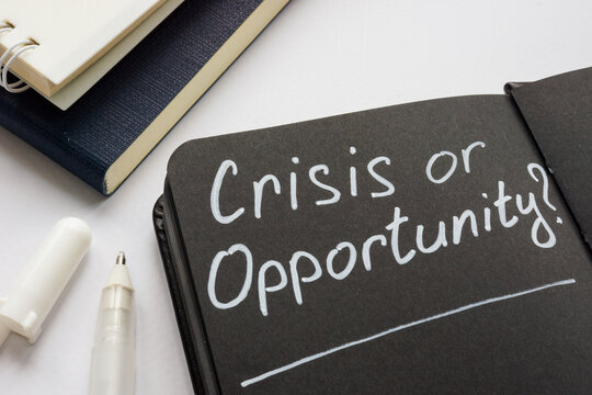 Crisis or opportunity question on the black page.