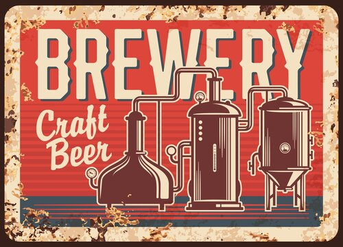 Craft beer brewery rusty metal vector plate. Copper brew kettles with pipes, pressure gauges and typography. Small, local brewery or pub retro banner, advertising sigh with rust texture