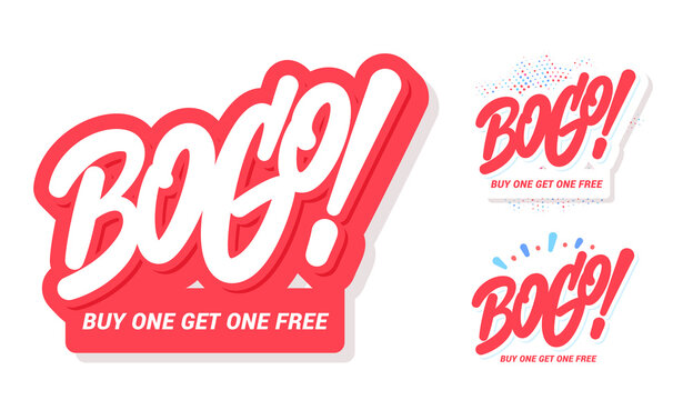 BOGO sale icons. Buy one get one free. Vector lettering banners set.