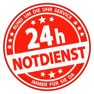 round business button - 24 hours emergency service (german)