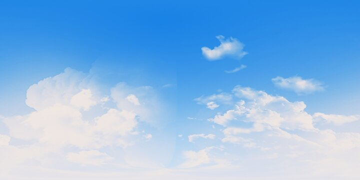 Seamless cloudy blue sky hdri panorama 360 degrees beautiful clouds without ground, 3D RENDERING
