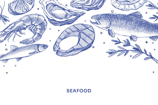 Hand-drawn seafood on a light background. Fish steak, shrimp, oyster, salmon. Retro picture for the design of restaurants, fish markets, and shops. Vector illustration in old engraving style.