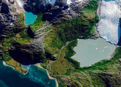 Satellite view of a glacier, Cabo de Hornos, Chile. Glaciar Italiano. Ice melting. Climate change. Wild nature. Element of this image is furnished by Nasa