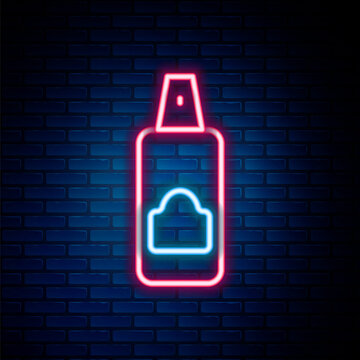 Glowing neon line Spray can for hairspray, deodorant, antiperspirant icon isolated on brick wall background. Colorful outline concept. Vector.