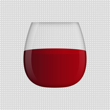 Stemless wine glass with red wine. Transparent background. Vector clipart.