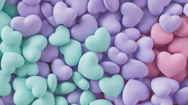 Multicolored Heart background. Valentine Wallpaper with Violet, Turquoise and Pink love hearts. 3D Render