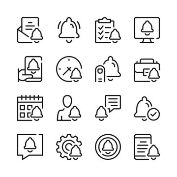Notification line icons set. Bell symbols. Modern graphic design concepts, simple outline elements collection. Vector line icons