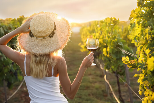 Young woman with glass of wine in vineyard on sunny day, back view
