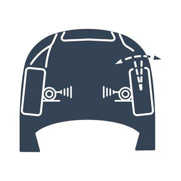 Vector black icon car service, wheel alignment, toe angle