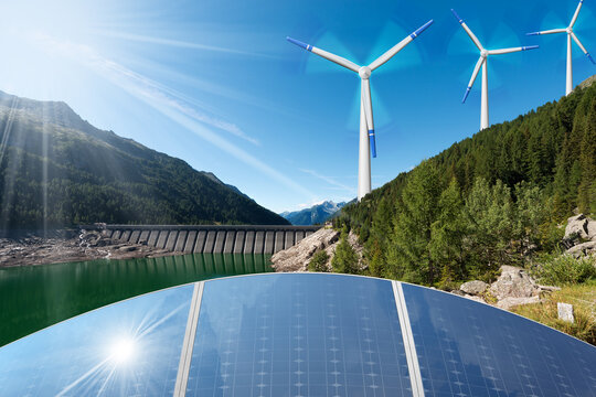 Renewable Energies Concept - Sunlight with solar panels. Wind with wind turbines. Rain and water with dam for hydropower.