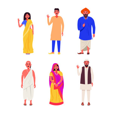 Indian people illustration set. Indian people standing in different traditional clothes.