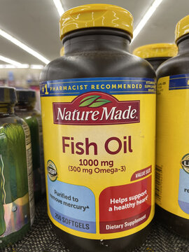 FRESNO, UNITED STATES - Feb 05, 2021: Photo of Nature Made Fish Oil in Bottle